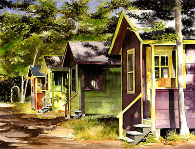 Cape Cod Painting - Colorful Cottages by Heidi Gallo