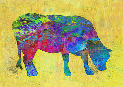 Painting - Colorful Cow Abstract Art by Ann Powell