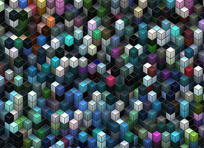 Visual Illusion Painting - Colorful Cubes by Jack Zulli