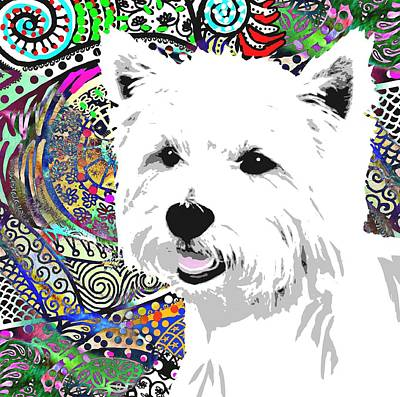 Westie Puppy Digital Art - Colorful  by Cindy Edwards