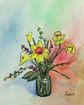 Painting - Colorful Daffodil Flowers In A Vase by Prashant Shah