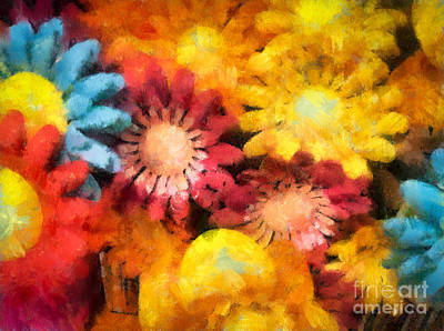Primary Colors Digital Art - Colorful Daisies by Amy Cicconi