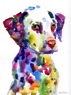 Watercolor Pet Portraits Painting - Colorful Dalmatian Puppy Dog Portrait Art by Svetlana Novikova