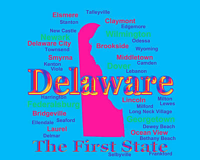 Photograph - Colorful Delaware State Pride Map Silhouette  by Keith Webber Jr