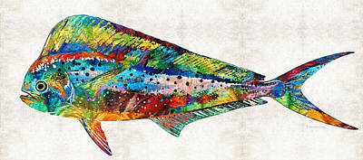 Seafood Painting - Colorful Dolphin Fish By Sharon Cummings by Sharon Cummings