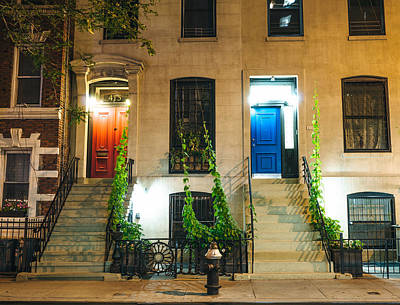 Brownstones Photograph - Colorful Doors At Night - New York City by Vivienne Gucwa