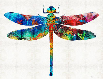 Colorful Dragonfly Art By Sharon Cummings Art Print by Sharon Cummings