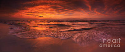 Pinery Photograph - Colorful Dramatic Sunset Over Lake Huron Panorama by Oleksiy Maksymenko