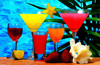Beverages Painting - Colorful Drinks by VRL Art
