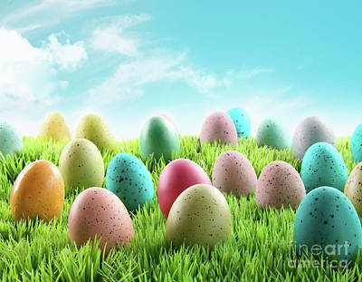 Colorful Easter Eggs In A Field Of Grass Art Print by Sandra Cunningham