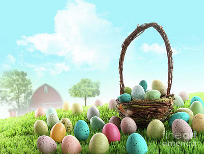 Photograph - Colorful Easter Eggs In Field Of Grass  by Sandra Cunningham