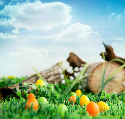 Colorful Easter Eggs Art Print by Mythja  Photography