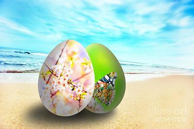 Colorful Easter Eggs On Sunny Beach Art Print by Michal Bednarek