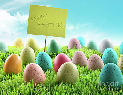 Photograph - Colorful Easter Eggs With Sign In A Field by Sandra Cunningham