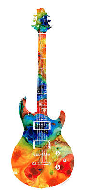 Rock And Roll Mixed Media - Colorful Electric Guitar 2 - Abstract Art By Sharon Cummings by Sharon Cummings