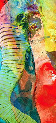 Mixed Media - Colorful Elephant Art By Sharon Cummings by Sharon Cummings