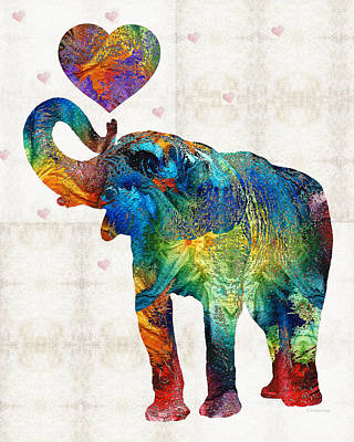 Sweet Painting - Colorful Elephant Art - Elovephant - By Sharon Cummings by Sharon Cummings