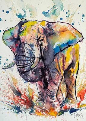 Colorful Elephant Art Print by Kovacs Anna Brigitta