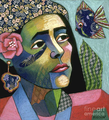 Painting - colorful expressionist portrait art - Tropical Intrusion by Sharon Hudson
