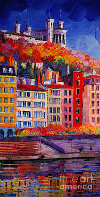 Modern Abstract Painting - Colorful Facades On The Banks Of Saone - Lyon France by Mona Edulesco