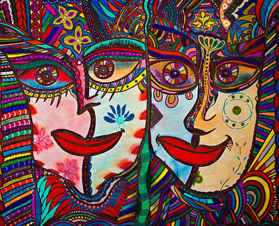 Painting - Colorful Faces Gazing - Ink Abstract Faces by Marie Jamieson