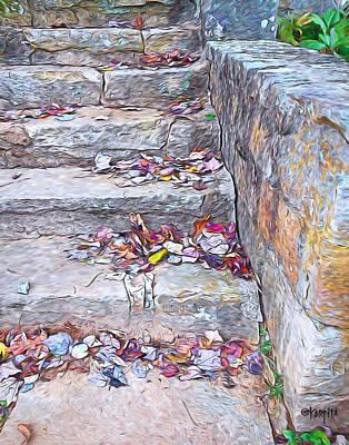 Mentone Al Wall Art - Photograph - Colorful Fall Leaves Autumn Stone Steps Old Mentone Inn Alabama by Rebecca Korpita