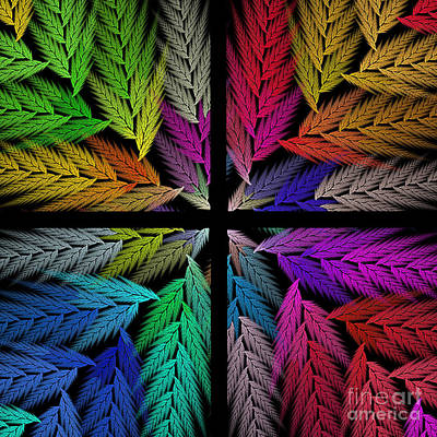 Digital Art - Colorful Feather Fern - 4 X 4 - Abstract - Fractal Art - Square by Andee Design