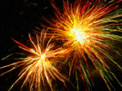 Freedom Party Painting - Colorful Fireworks Over Dark Sky by Lanjee Chee