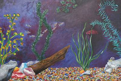 Siamese Fighting Fish Painting - Colorful Fish Tank Cropped by Emily Michaud