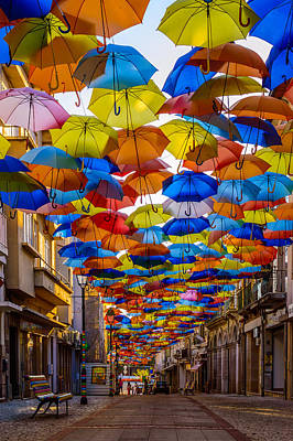 Window Bench Photograph - Colorful Floating Umbrellas by Marco Oliveira