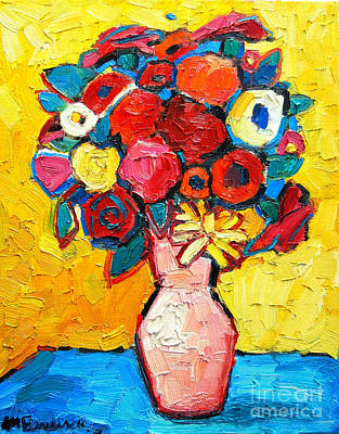 Bouquets Of Pink Flowers Green Blue Painting - Colorful Flowers by Ana Maria Edulescu
