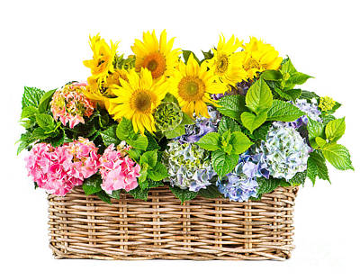 Colorful Flowers In Basket Print by Boon Mee