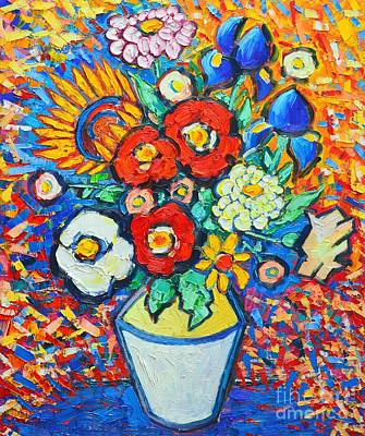 Sunflower Painting - Colorful Flowers - Summer Joy - Sunflowers Poppies Irises Zinnias Wild Roses And Some Daisies  by Ana Maria Edulescu