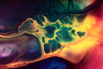 Colorful Fluid Art-wave Of Fire By Kredart Art Print
