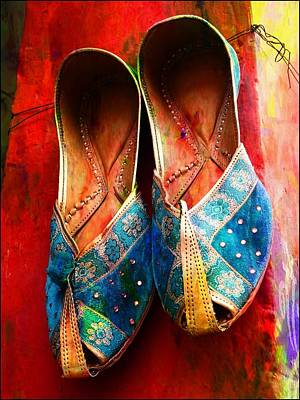 Photograph - Colorful Footwear Juttis Sales Jaipur Rajasthan India by Sue Jacobi