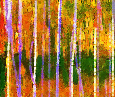 Painting - Colorful Forest Abstract Triptych Part 1 by Menega Sabidussi