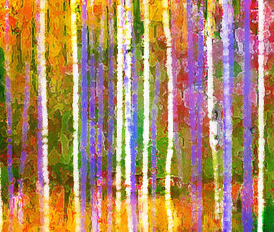Painting - Colorful Forest Abstract Triptych Part 3 by Menega Sabidussi