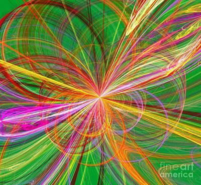 Digital Art - Colorful Fractal Burst Of Loops by Yali Shi