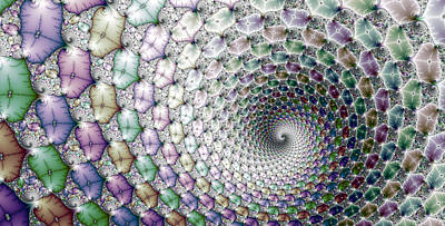 Digital Art - Colorful Fractal Spiral Wide Horizontal Format by Matthias Hauser