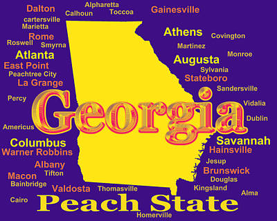 Photograph - Colorful Georgia State Pride Map Silhouette  by Keith Webber Jr