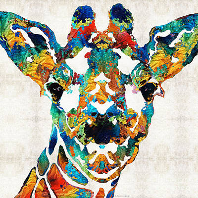 Zoo Painting - Colorful Giraffe Art - Curious - By Sharon Cummings by Sharon Cummings