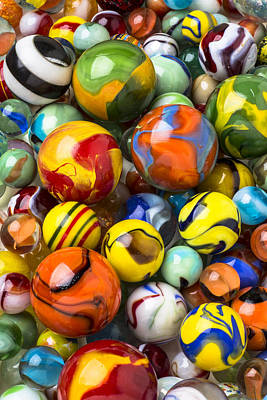 Colorful Glass Marbles Print by Garry Gay