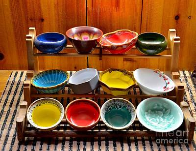 Tableware Photograph - Colorful Glazed Bowls Displayed On Wooden Stand by Imran Ahmed