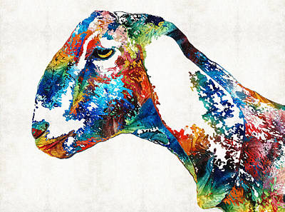 Colorful Goat Art By Sharon Cummings Art Print by Sharon Cummings
