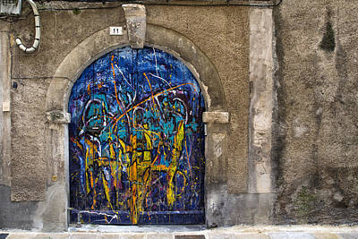 Colorful Graffiti Door Art Print by Georgia Fowler