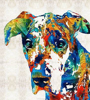 Funny Dog Painting - Colorful Great Dane Art Dog By Sharon Cummings by Sharon Cummings