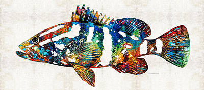 Colorful Tropical Fish Painting - Colorful Grouper 2 Art Fish By Sharon Cummings by Sharon Cummings