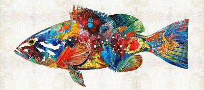 Colorful Grouper Art Fish By Sharon Cummings Art Print by Sharon Cummings