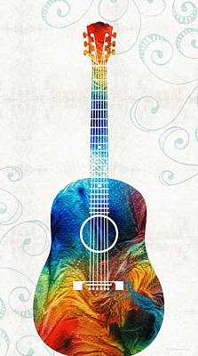 Colorful Guitar Art By Sharon Cummings Art Print