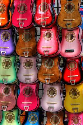 Colorful Guitars Print by Tony  Colvin